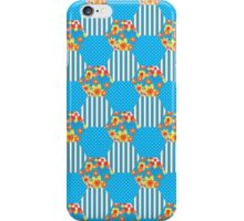 Sky Blue Floral Faux Patchwork Hexagons Pattern iPhone Case/Skin