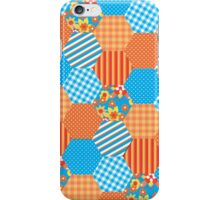 Sky Blue and Orange Floral Faux Patchwork Hexagons Pattern iPhone Case/Skin