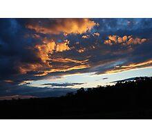 Sunset - Purple and Orange - Whittlesea, Victoria Photographic Print