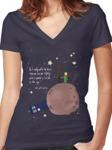 Doctor who meet a little prince Women's Fitted V-Neck T-Shirt