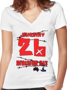 January 26 Invasion Day Women's Fitted V-Neck T-Shirt