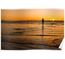 Sunset over Crosby beach Poster