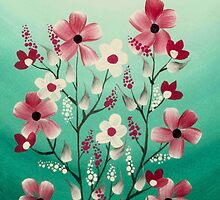 Hand Painted Red and White Flowers by Zedart