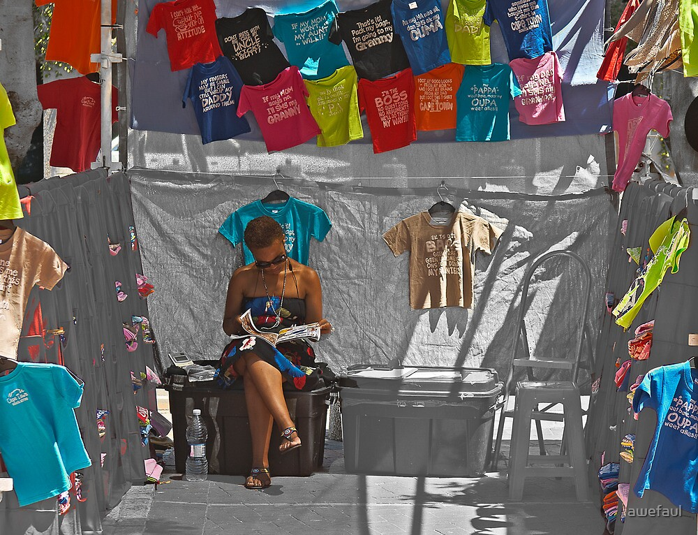 She sells t-shirts in the shade by awefaul