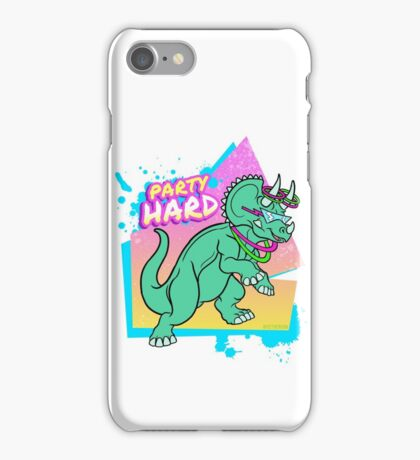 Party Hard Dinosaur II - Triceratops with glowstick hoops iPhone Case/Skin