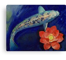 Gin Matsuba Koi and Lotus Canvas Print