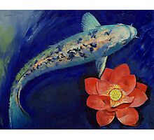 Gin Matsuba Koi and Lotus Photographic Print
