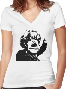 Christmas Heat Miser Stencil Women's Fitted V-Neck T-Shirt