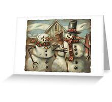 American Gothic snow couple Greeting Card