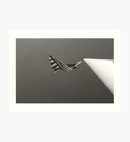 Old Glory is Black and White Art Print