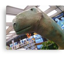01-08-11 Library Dinosaur With True Grit Canvas Print