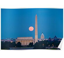 Moonrise Over Washington, DC Poster