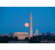 Moonrise Over Washington, DC Photographic Print