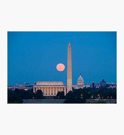 Moonrise Over Washington, DC Photographic Print