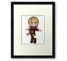 Cute Happy Toon Christmas Elf Framed Print