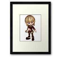 Cute Toon Christmas Elf Framed Print