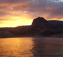 """ Blazin Sunset- Lake Powell, AZ "" by NikkiLoomis"