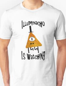 Bill Cipher Dorito Illuminacho Is Watching - Black T-Shirt