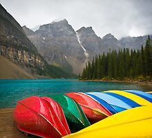 The Canoes of Moraine Lake by Scott Richards