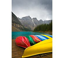 The Canoes of Moraine Lake Photographic Print