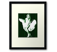Marilyn Monroe Iconic White Dress Blowing Image Green  Framed Print