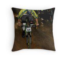 Downhill Racing at Highland Mountain Bike Park Throw Pillow
