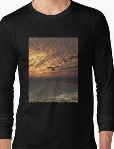 Dragon Flying at Sunset Long Sleeve T-Shirt