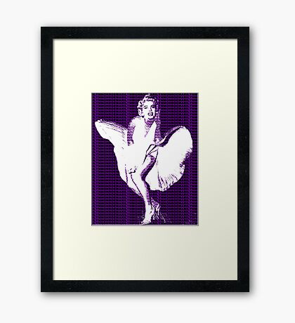 Marilyn Monroe Iconic White Dress Blowing Image Purple   Framed Print