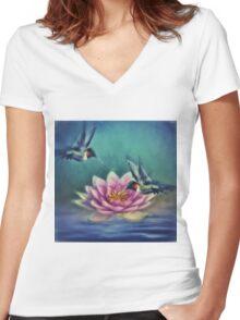 Lotus Flower 2 Women's Fitted V-Neck T-Shirt