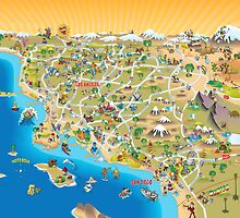 Sunny Cartoon Map of Southern California by Dave Stephens