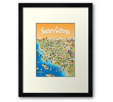 Sunny Cartoon Map of Southern California Framed Print
