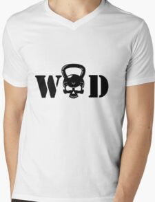 WOD Kettlebell Skull Black Mens V-Neck T-Shirt