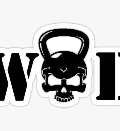WOD Kettlebell Skull Black Sticker