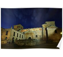 Colegiata de Santillana del Mar at night Poster