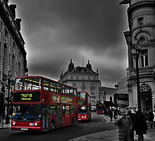 Double Deckers on Piccadilly Circus by Cedric Canard