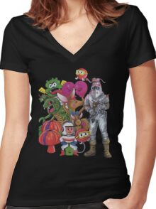 Classic Retro Atari Characters T-Shirt Women's Fitted V-Neck T-Shirt