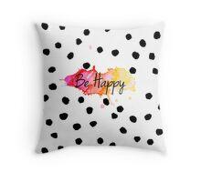 Be Happy :) Watercolour  Throw Pillow