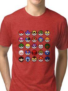 Pokeballs - pixel art Tri-blend T-Shirt