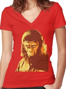 Planet Of The Apes T-Shirt Women's Fitted V-Neck T-Shirt