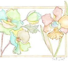 Green-Yellow Flowers by Evawatercolours