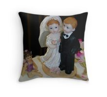 Bride Groom and Flower girl display Throw Pillow
