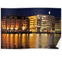 Earth & Scandinavia Wonders -  Bergen - Bryggen by night .Norway . by Brown Sugar . F* Views (123) Waaaws !!! Thanks !!! Poster