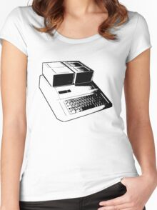 Vintage Retro Apple II Computer Stencil Women's Fitted Scoop T-Shirt