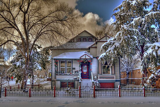The Decorated Little House in The Snow by K D Graves Photography