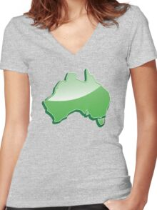 Australia Map simple in green Women's Fitted V-Neck T-Shirt