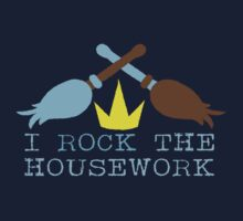 I ROCK THE HOUSEWORK with feather duster and broom cleaner One Piece - Short Sleeve