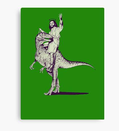 Jesus Riding Dinosaur Canvas Print