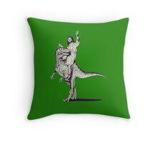 Jesus Riding Dinosaur Throw Pillow