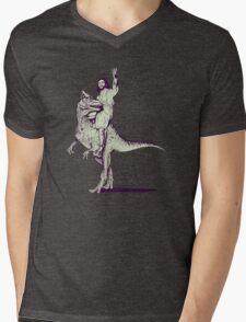 Jesus Riding Dinosaur Mens V-Neck T-Shirt
