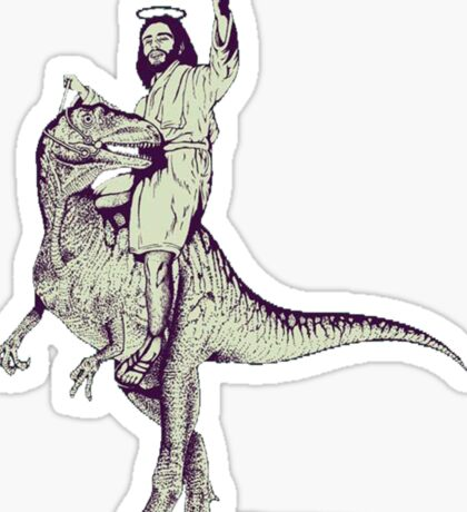 Jesus Riding Dinosaur Sticker